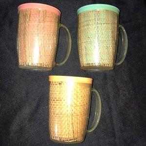 Vintage Kitchen - 3 Vintage RAFFIAWARE Coffee Cups/Mugs~Retro/Boho